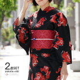 浴衣2点セット薔薇変わり織り黒赤ボルドー花バラモダン綿半幅帯古典柄夏着物