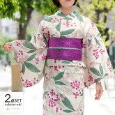 浴衣2点セット南天変わり織りオフホワイトオフ白クリーム紫緑花葉モダン綿半幅帯古典柄夏着物