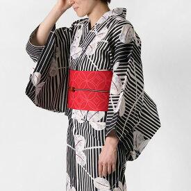 浴衣 2点セット 縞に萩 赤 黒 白 桜 レディース 30代 40代 50代 生成 レトロ モダン 古典柄 夏着物 女性用