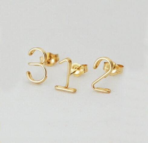 ラッキーナンバーピアス k14gf 123456789 ゴールドフィルド ペア 誕生日プレゼント ワイヤーピアス 数字ピアス 記念日 14金 ラッピング無料