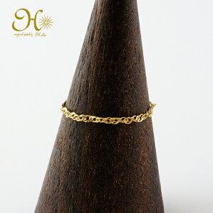 k18 gold ゴールド チェーンリング スクリューチェーン 12mm幅 華奢 指輪 18金 18k  重ね付け ピンキーリング 1〜15号