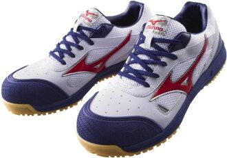 MIZUNO 미즈노 안전 신발 C1GA1600 워킹 슈즈 オールマイティ 뉴 타입 (JSAA A 종 지 선 응어리) 01 화이트 × 레드 × 네이 비