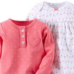 カーターズベビードレス2枚セット【メール便送料無料】Carter'sハート・ピンク&白