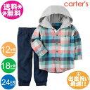 カーターズ CARTER'S【メール便送料無料】2点セットフード付きチェックシャツ&紺パンツ/パーカー/トップス/2P/ギフトセット/秋物/春…