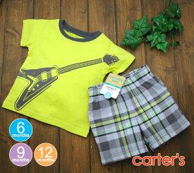【メール便送料無料】Carter's カーターズ  エレキTシャツグリーン&チェックパンツ【送料無料 新作】/ベビー服
