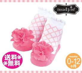 【定形外郵便は送料無料】MudPie マッドパイ(靴下)ピンクラティス フラワーベビーソックス 0-12M/Pink Lattice Flower Baby Socks/バレリーナ/バレエ