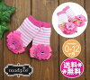 【送料無料】MudPieマッドパイ靴下(ソックス)ボーダーフラワー・ピンク0-12M【楽ギフ_メッセ】【RCP】