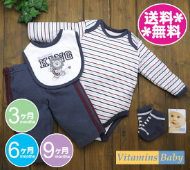 【メール便送料無料】Vitamins Baby 【正規品】4点セット靴下付き ライオン KING・ボーダー×紺