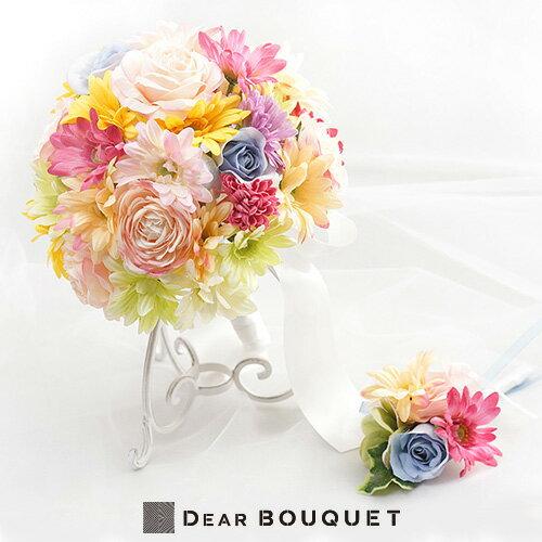 結婚式 ウェディングブーケ + ブートニア セット アートフラワー ウェディング 花束 ブライダル 2次会 お色直し パーティ イベント コンクール かわいい おしゃれ 花 造花 枯れない