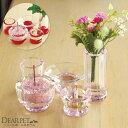 ペット仏具 クリスタル 5点 カラー レッド ピンク かわいい きらきら ガラス仏具セット 送料無料【線香・ロウソクサン…