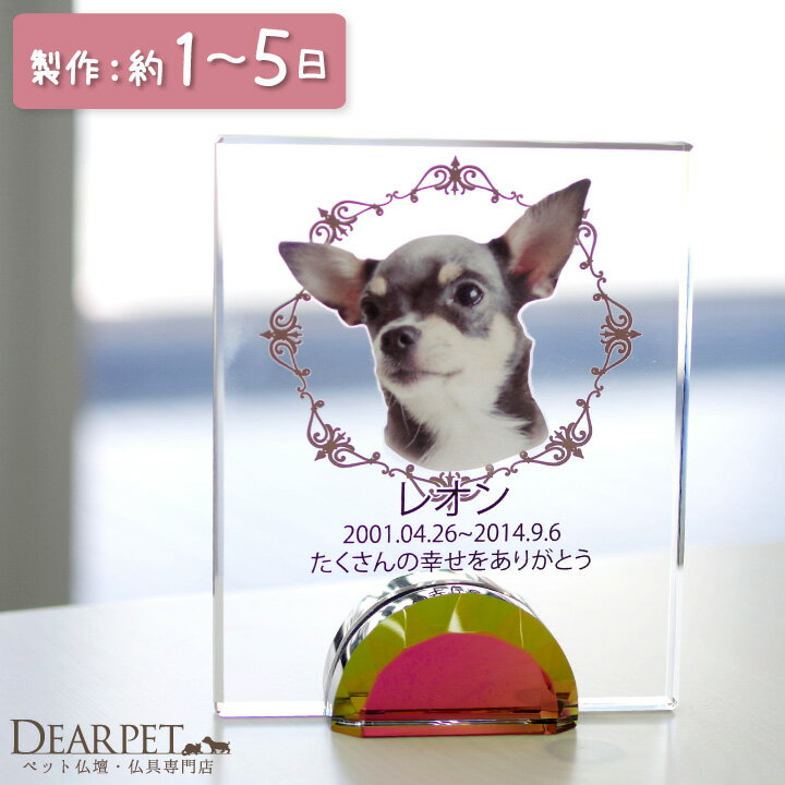 【ペット位牌】フレームクリスタル可愛い カラー 位牌 送料無料 ペット供養 犬 猫 ガラス クリスタル いはい 49日 きれい シンプル 写真入り 急ぎ 最短 早い かわいい 大