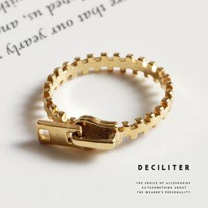 リング 指輪 レディース アクセサリー おしゃれ ゴールド 金 シンプル 重ねづけ 女性 12.5号 チャック ジッパー ファスナー