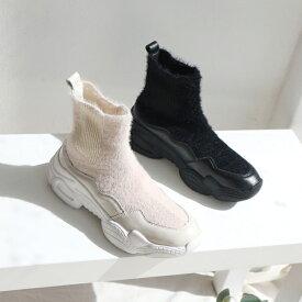 ショートブーツ サイドゴア スニーカーソール ファー フラット 厚底 レディース 靴 婦人靴 ブラック ホワイト 黒 白