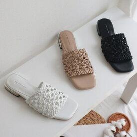 サンダル 編み込み 編み上げ メッシュ ローヒール メタルヒール フラット レディース 黒 白 ブラック ホワイト ベージュ 靴 婦人靴 歩きやすい 痛くない