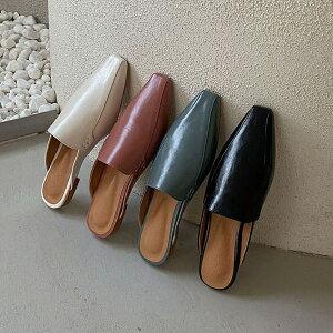 サンダル ローファー バブーシュ スクエアトゥ フラット レディース ぺたんこ ペタンコ 黒 青 ブラック ブルー ピンク アイボリー 革靴 おじ靴 靴 婦人靴 韓国