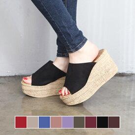 サボサンダル レディース 厚底サンダル ウェッジソール ヒール ウェッジヒール スエード 履きやすい 歩きやすい 疲れない 婦人靴 ブラック ウエッジソール