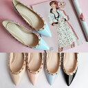 パンプス スタッズ フラットシューズ ポインテッドトゥ 黒 ブラック レディースシューズ ぺたんこ 婦人靴 結婚式 05P03Dec16