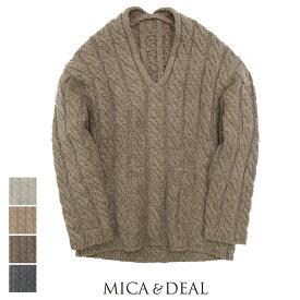 【SALE☆☆☆☆】MICA&DEAL マイカアンドディール ケーブルVネックニット M18D245