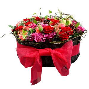 現品限り【RK013 ローズフラワーケーキアレンジ】フェイクフラワー 造花 卓上 テーブル リアルな造花 アーティフィシャルフラワー アートフラワー アレンジメント プレゼント 贈り物 ギフト