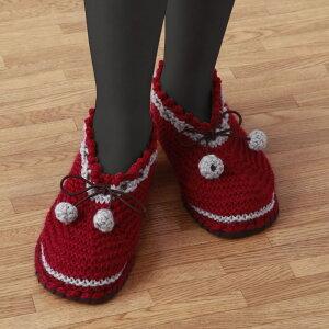 【代引き・同梱不可】すべりにくい手編みルームシューズエンジL毛糸 手作りキット 初心者