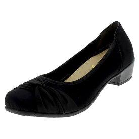 【代引き・同梱不可】アシックス商事 婦人レディース カジュアルパンプス footsuki フットスキ 3E相当 FS-15340 ブラックサテン母趾 シューズ 靴