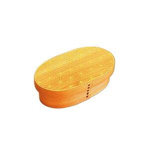 【代引き・同梱不可】かのりゅう 麻の葉 スリム型曲げわっぱ弁当箱 Na・ナチュラル オレンジ S17-13-15s