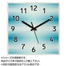 【代引き・同梱不可】MYCLO(マイクロ) 壁掛け時計 アクリル素材(クリア) 四角 30cm ボーダー(青・ブルー) com928