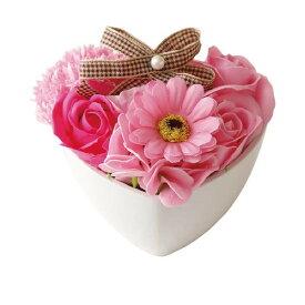 【代引き・同梱不可】SAVON FLOWER パオラハート KS-052 ピンクソープフラワー 造花 アレンジメント