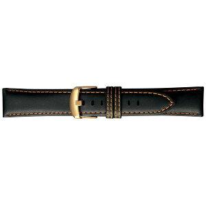 【代引き・同梱不可】BAMBI バンビ 時計バンド スコッチガードレザー 牛革 黒(オレンジステッチ) BCM004O1U