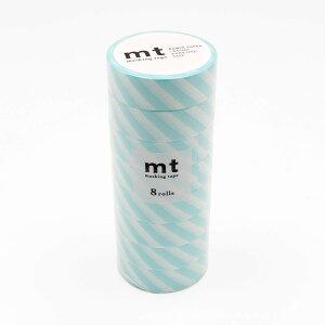【代引き・同梱不可】mt マスキングテープ 8P ストライプ・ミントブルー MT08D373