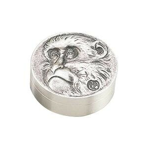 【代引き・同梱不可】高岡銅器 銅製小物 高村光雲原型 肉池 老猿 銀メッキ 54-05贈答用記念品 和風 置き物