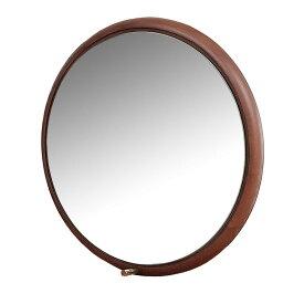 【代引き・同梱不可】Ladybug wall mirror ブラウン ILM-3210BRフック付 丸 木製