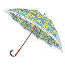 【代引き・同梱不可】日本の職人手作り ひまわり柄 木棒 手開き長傘大判 ブルー CMD165F65cm 長傘 傘