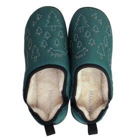 【代引き・同梱不可】Boa slippers(ボアスリッパ) ダウンスリッパ グリーン Mサイズ(22-24cm) 72175部屋履き 室内履き 暖かい