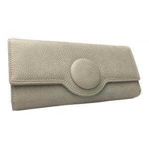 【代引き・同梱不可】Pisoraro(ピソラロ) くるみボタン 大容量かぶせ長財布 ライトグレー PR113