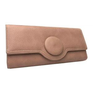 【代引き・同梱不可】Pisoraro(ピソラロ) くるみボタン 大容量かぶせ長財布 ピンク PR113