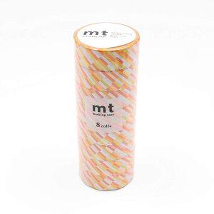 【代引き・同梱不可】mt マスキングテープ 8P ブロックストライプ・オレンジ MT08D438