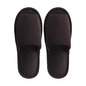 (まとめ) TANOSEE 外縫いスリッパ ブッチャー 大きめM ブラウン 1足 【×5セット】【日時指定不可】