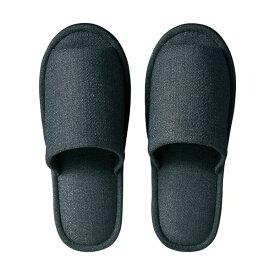 (まとめ) TANOSEE 外縫いスリッパ ブッチャー 大きめM チャコール 1足 【×5セット】【日時指定不可】