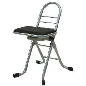 シンプル 折りたたみ椅子 【ブラック×シルバー】 幅420mm 日本製 スチールパイプ 『プロワークチェア スイング ミニ』【代引不可】【日時指定不可】