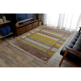 トルコ製 ラグマット/絨毯 【ブラウン 約160×225cm】 折りたたみ収納可 高耐久性 オールシーズン可 〔リビング〕【日時指定不可】