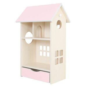 ドールハウス型 収納棚 【ベビーピンク】 幅54cm 日本製 キャスター付き フック付き 『ドールハウスシェルフ』 【完成品】【代引不可】【日時指定不可】