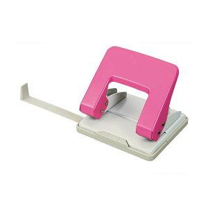 (まとめ) TANOSEE 2穴パンチ 20枚穿孔ピンク 1台 【×10セット】【日時指定不可】