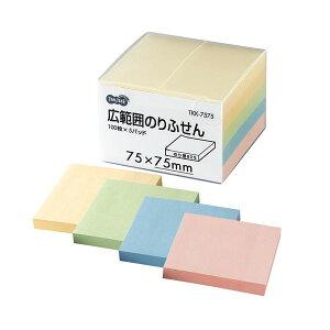 (まとめ) TANOSEE 広範囲のりふせん 75×75mm 4色 1パック(5冊) 【×10セット】【日時指定不可】