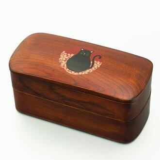 从盒饭2段洁净材挖,制作的高級会津塗弁当箱