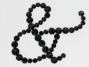 ナンバー・数字 [& 大サイズ] 筆記体 デコシート(Hotfix) #2038 ジェット/イニシャル/スワロフスキー/スワロ/ラインストーン