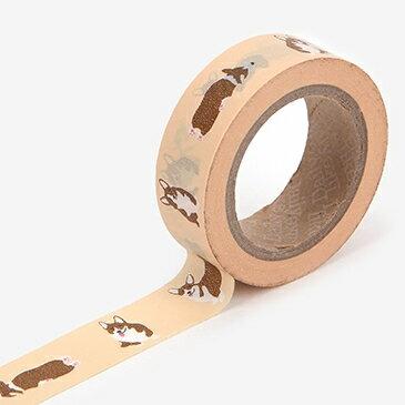 マスキングテープ 72 : Welsh corgi【ゆうパケット対応】[スクラップブッキング ラッピング コラージュ 柄 犬|動物|アニマル|ウェルシュコーギー]