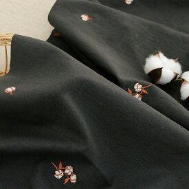 生地・布・刺繍≪ 綿花 ≫ハーフリネン/幅143cmデコレクションズオリジナル生地・布【10cm単位販売】【女の子】【ガーリー】【花】【葉】【黒】|ワイド幅│幅広│綿花