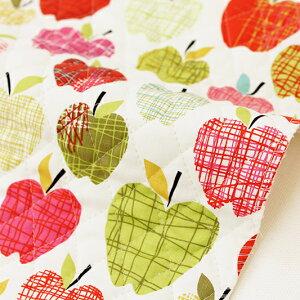 【特別価格〜5/17月10:59】【レシピ付】生地 布 入園入学 北欧風キルティング/幅105cm≪ アップルジュース ≫【10cm単位販売】【女の子】【果物】【赤】 りんご リンゴ おしゃれ かわいい