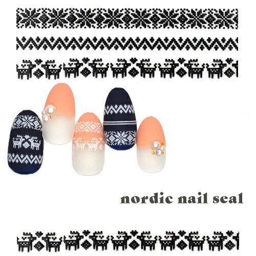 ノルディックネイルシール [DTL-102] ホワイト/ブラック ジェル・アクリル用 冬アート ノルディック ジェルネイル ステッカー